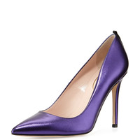 Fawn Metallic Point-Toe Pump, Blue - SJP by Sarah Jessica Parker