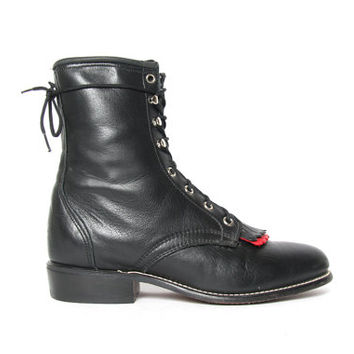 Black and Red Kiltie/ Roper/ Racer Ankle Boots // Size 9 // Kiltie Boots // Roper Boots / Leather Ankle Boots / Fringe Boots / Laredo Boots