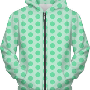 Mint green polka dots pattern hoodie, light green circles, geometric theme apparel design