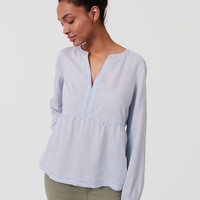 Petite Chambray Peplum Softened Shirt | LOFT