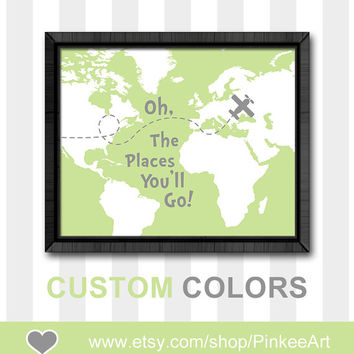 Inspirational nursery wall saying oh the places nursery oh the place you'll go map dr seuss quotes kids baby boy nursery boys room decor