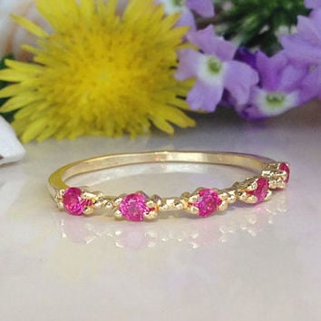 20% off-SALE!! Ruby Ring - July Ring - Gold Ring - Stack Ring - Dainty Ring - Fuchsia Ring - Tiny Ring - Birthstone Ring - Simple Jewelry