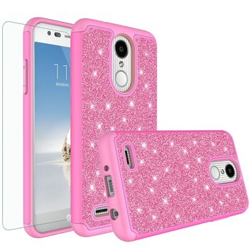 LG Aristo 2 Case, LV3 2018 Case, LG Tribute Dynasty Glitter Bling Heavy Duty Shock Proof Hybrid Case with [HD Screen Protector] Dual Layer Protective Phone Case Cover for LG Aristo 2 - Hot Pink