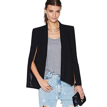 Women Long Sleeve Lapel Cape Split Poncho OL Jacket Cloak Coat Blazer Suit