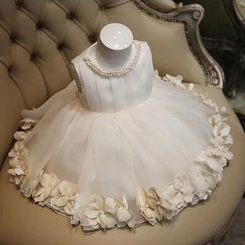Ball Gown Tulle Pearl Flower Girl Dresses For Weddings 2015 First Communion Dresses Pageant Dresses MD F89