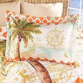 (1) Tropical Palm Tree Themed Pillow Sham Moroccan Pattern Bedroom Bed Decor