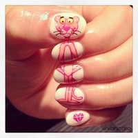 pink panther nails | via Facebook - inspiring picture on Favim.com