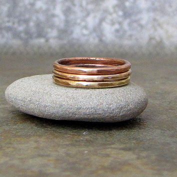Copper Stacking Rings Hammered Copper Rings Brass Stacking Rings Bronze Multi Metal Hammered Stacking Rings