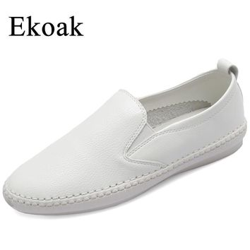 Ekoak Genuine Leather Sneakers Size 35-43 New 2017 Classic Women Casual Shoes Spring A