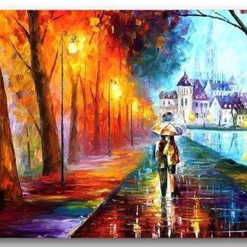 Custom Front Door Mat Autumn Oil Drawing Lover Walking Anti-Slip Kitchen 40x60cm Floor Mat Bathroom Mat Decorative Kitchen Rugs