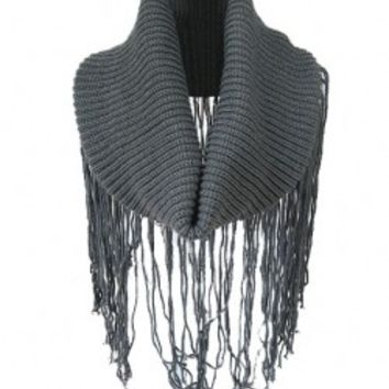 Pure Color Long Tassel Knitted Scarves