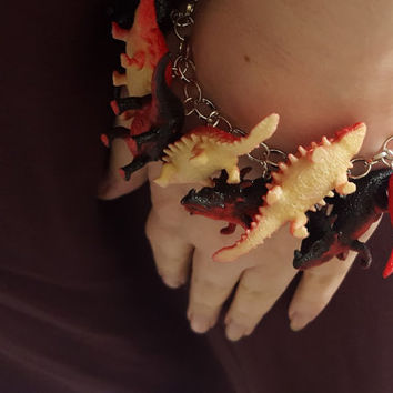 Dinosaur Bracelet Red and Black Triceratops Jumble Bracelet with Recycled Toys
