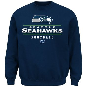 Majestic Seattle Seahawks Vital Win Crew Neck Fleece Sweatshirt - College Navy