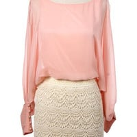 SHEER OPEN SLEEVE DRESS WITH CROCHET LACED SKIRT - Pink