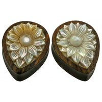 Lotus Flower Mother of Pearl Plug - Buddha Jewelry Organics