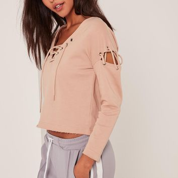Missguided - Petite Extreme Brown Lace Up Jumper