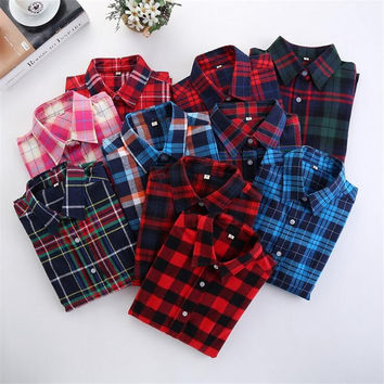 Brand Cotton Plaid Women Shirts Blouses Long Sleeve Flannel Ladies Tops Blusas Plus Size 5XL Clothing For Women 2016