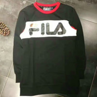FILA Fashion Print Splicing Knit Round Neck Top Sweater Pullover Sweatshirt G-A-GHSY-1