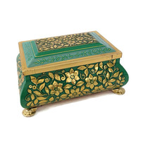 Vintage Tin-Fricke and Nacke Box-West Germany-Bright Green and Gold-Footed-Removable Lid-Embossed Flowers-Home Decor-Cookie Tin