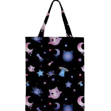 Kawaii Cute Harajuku Cat Neko Uchuu Kei Star Moon Planet Space Galaxy Anime Manga Cartoon Pastel Goth Soft Grunge Tote Bag Purse