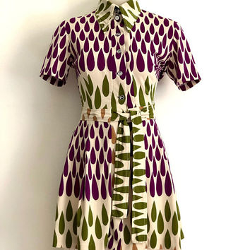 Vintage 1970s 'Pepi' teardrop print, belted tunic with button up front and dagger collar