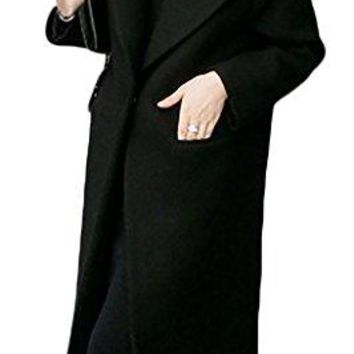 Pandapang Womens Classic Fit Lapel Snap Button Wool Blend Long Trench Coat