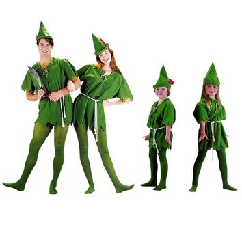 Halloween costume party dress Green elves Peter pan Role-playing apparel Free shipping