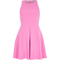 River Island Womens Bright pink textured crepe skater dress