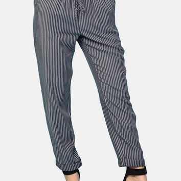 Ama Stripe Tencel Pants in Black