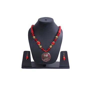 Fashion Junk Tibetan Handmade Beaded Pendant Necklace Earrings Set for Women