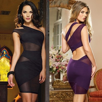 Sexy Women's Black One Shoulder Cut Out Mesh Mini Dress Cocktail Evening Clubwear Dress VVF = 1958336324