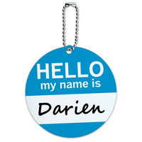 Darien Hello My Name Is Round ID Card Luggage Tag