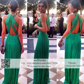In Stock Long 2016 Celebrity Dress Wedding Party Dress vestido longo de festa Pleat Long Prom Bridesmaid Dresses for women