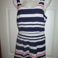 Charlotte Russe Medium Pink Blue White Stripe Open Back Romper Shorts Tank Top