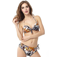 Kelp Print Swimsuit Push Up Bikini Set Bandage Swimwear