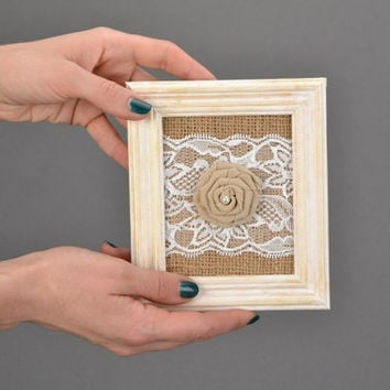Wall panel with lace Burlap wall panel Wooden frame with cream rose Textile rose Wall hanging with rose Burlap panel Burlap wall decor