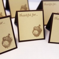 Acorn Thanksgiving Dinner Seating Place Cards Thankful Set of Twelve