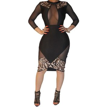 New Winter Women Black Sexy Club Bodycon Dress Sheer Mesh Patchwork Sequined Dress Vintage Long Sleeve Bandage Party Dresses