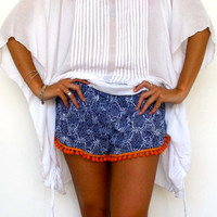 Pom Pom Shorts, Cobalt Blue Snake Print with Bright Orange or White Cotton Pom Pom's - 70's inspired gym shorts