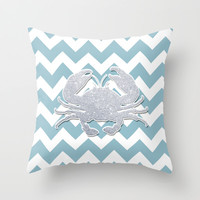 Silver Crab Throw Pillow by Pati Designs
