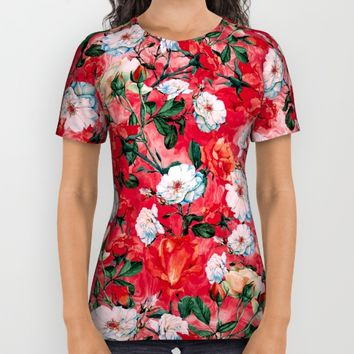 Rose Red All Over Print Shirt by RIZA PEKER