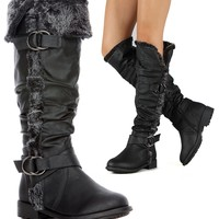 Furry Cuff Vegan Leather Knee High Slouch Rider Boots