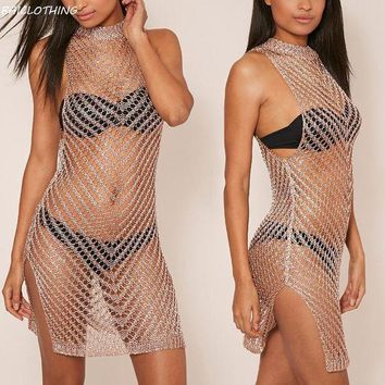 Baiclothing 2017 Shiny Knited Hollow Bikini Cover Ups Summer Perspective Mini Beach Dress Swimsuit Bathing Suit Cover Up