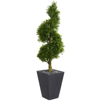 5' Boxwood Spiral Topiary Artificial Tree in Slate Planter UV Resistant (Indoor/Outdoor)