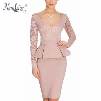 Nemidor Hot Sales Women Long Sleeve Bodycon Office Business Work Dress Ruffles Peplum Casual Summer Pencil Lace Dress