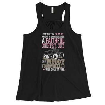 Faithful Country Guy On A Muddy Fourwheeler - Tank Top