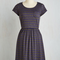 Mid-length Short Sleeves A-line Casual Inclination Dress in Stripes