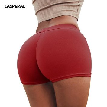 LASPERAL Sexy Yoga Shorts Solid Breathable Elastic High Waist Fitness Shorts Underwear Femme Boxer briefs Elastic Beach Shorts