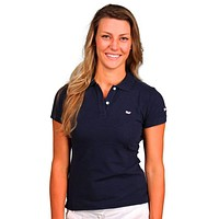 Women's Classic Polo in Navy by Vineyard Vines, Featuring Longshanks the Fox