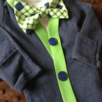 Tyrone - Baby Boy Clothes – Newborn  Outfit - Bowtie Cardigan Onesuit- 1st Birthday - Baby Gift- Ring Bearer - Christol and Company
